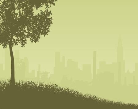 dull: Editable ilustraci�n vectorial de una lejana ciudad con los de la silueta de un objeto