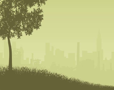 Editable vector illustration of a distant city skyline with foreground as a separate object Vector