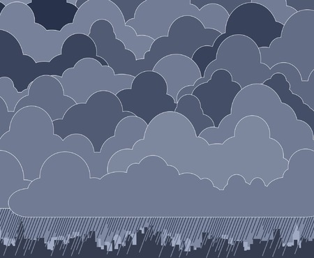 Editable vector illustration of clouds and rain Stock Vector - 2531443