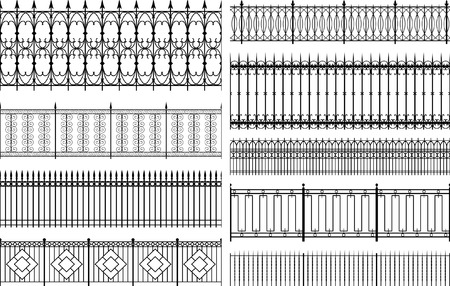 boundary: Set of editable vector fences and railings