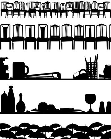 tabletop: Set of five editable vector silhouette foregrounds