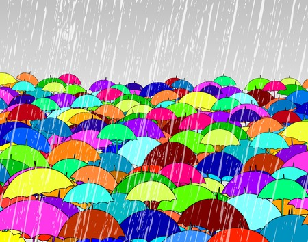 soaking: Editable vector illustration of umbrellas in rain Illustration