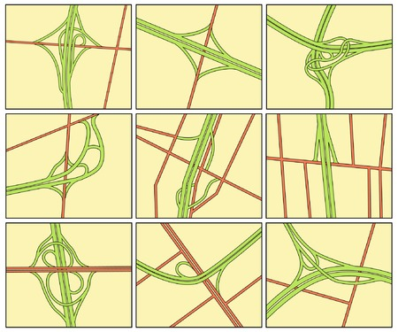 tollway: Set of editable vector road intersection illustrations Illustration