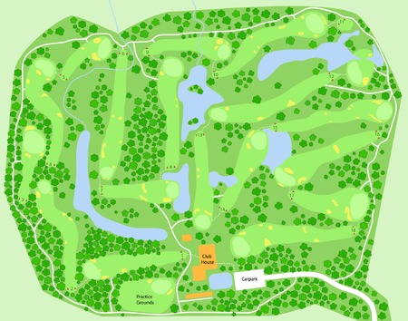 course: Editable vector map of a generic golf course Illustration