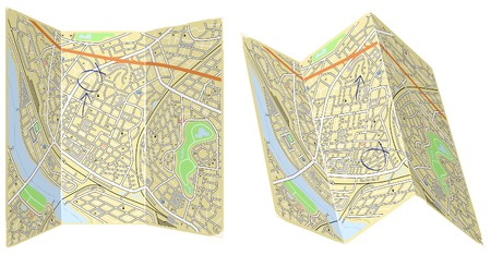 fold: Editable vector illustration of two folded generic maps with no names