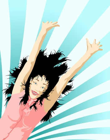 elation: Editable vector illustration of a woman jumping with separate background  Illustration