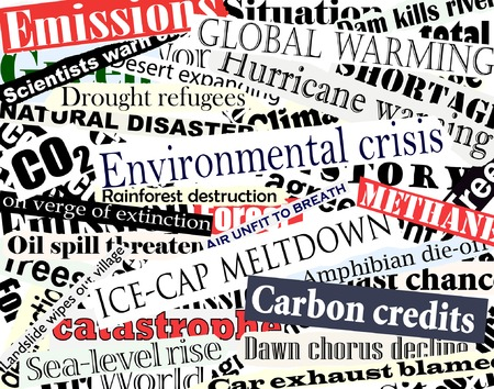 climate change: Editable vector illustration of newspaper headlines on an environmental theme