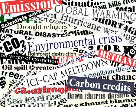 clutter: Editable vector illustration of newspaper headlines on an environmental theme