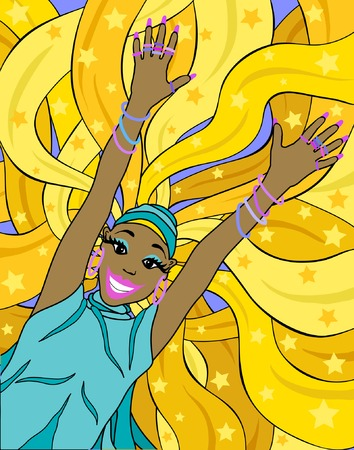 elation: Editable vector illustration of a woman jumping with background hair on separate layer