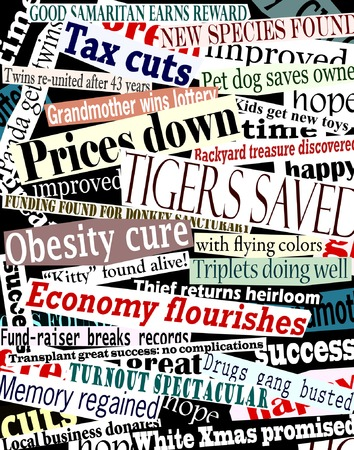 Vector collage of good news headlines with each headline as a separate editable object Stock Vector - 2867505