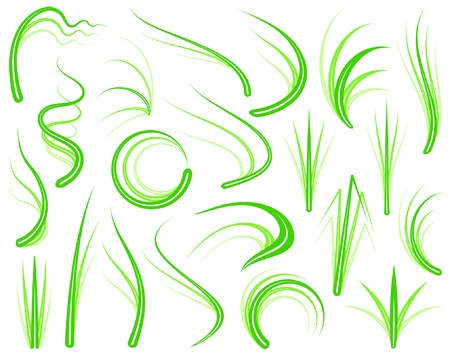 to sway: Set of editable vector grass design elements