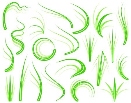 sway: Set of editable vector grass design elements