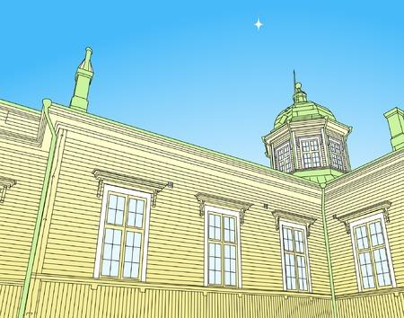 Editable vector illustration of a wooden Russian church Stock Vector - 3063028