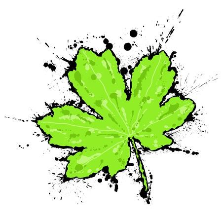 ink splash: Editable vector illustration of a maple leaf with ink splash grunge