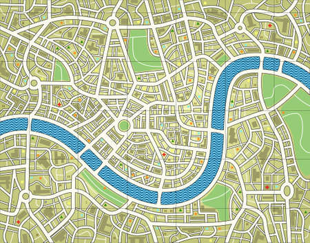 Editable vector illustration of a street map without names Illustration