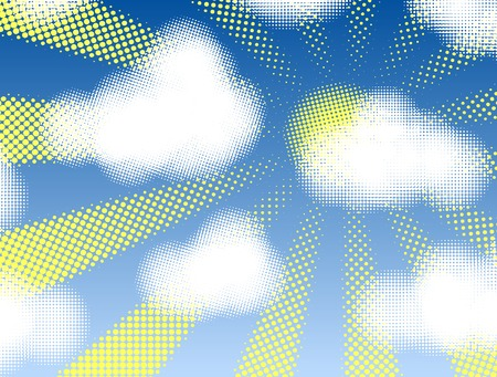 Editable vector design of halftone cumulus clouds and sunshine Vector