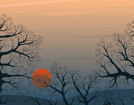 deciduous forest: Editable vector illustration of a winter sunset with copy-space