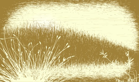 grassy: Editable vector illustration of a grassy landscape with grunge. All elements as separate objects.