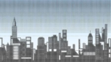 towerblock: Halftone vector illustration of a city skyline