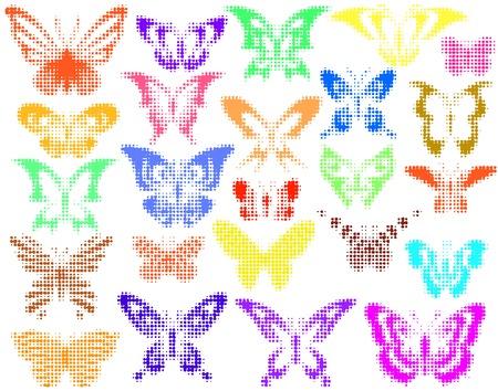 Set of editable vector halftone butterfly designs Vector