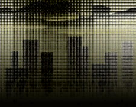 towerblock: Halftone editable vector illustration of a city skyline