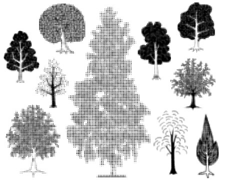 Editable vector illustrations of various halftone trees Stock Vector - 3159308