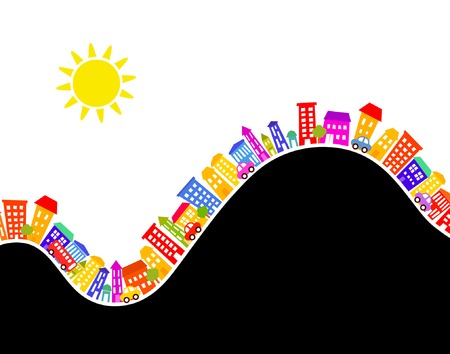 sun road: Editable vector illustration of colorful buildings with copy-space