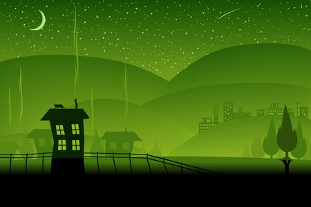 afterglow: Editable vector illustration of a night-time landscape