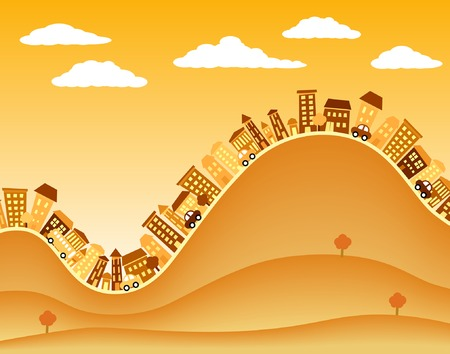 hilly: Editable vector illustration of a hilly town