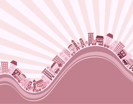 accidentado: Editable ilustraci�n vectorial de un municipio monta�oso con copia de espacio  Vectores