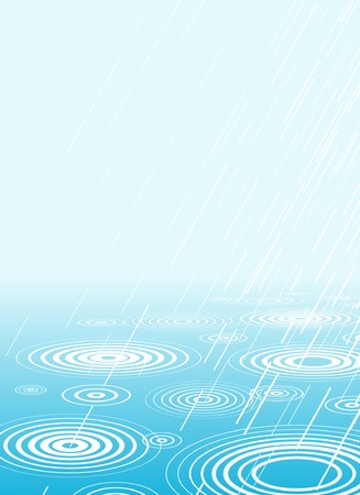 drizzle: Editable vector illustration of rain falling into water with copy-space