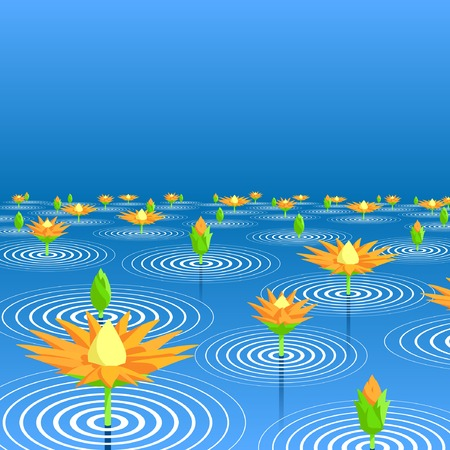 Editable vector illustration of lotus flowers emerging from a lake