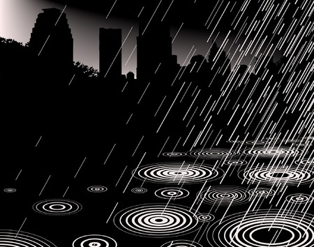 torrential: Editable vector illustration of rain with a city skyline and copy-space Illustration