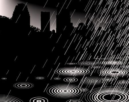 torrential rain: Editable vector illustration of rain with a city skyline and copy-space Illustration