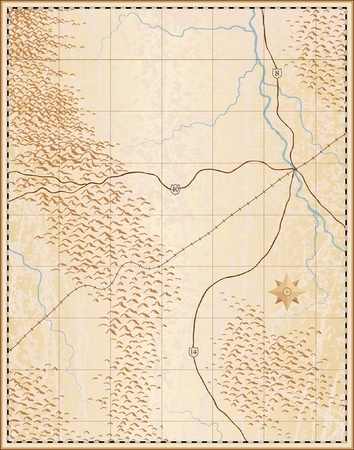 Editable vector illustration of an old generic map with no names