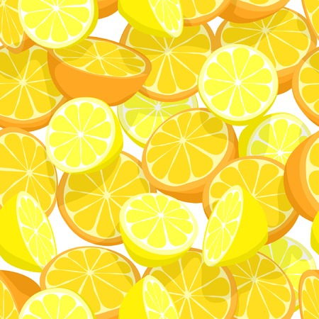 Seamless editable vector tile of lemons and oranges Vector