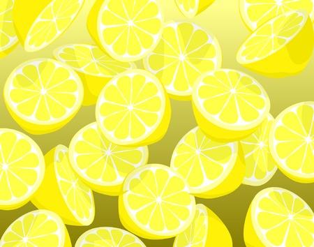 Editable vector illustration of falling sliced lemons Vector