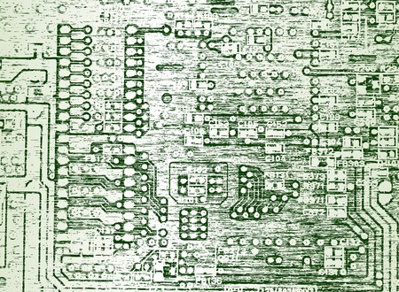 Editable vector illustration of a circuit board with grunge Vector