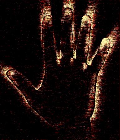 glowing skin: Editable vector grunge dise�o de una mano