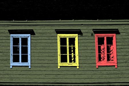 Editable vector illustration of three wooden windows Stock Vector - 3275717