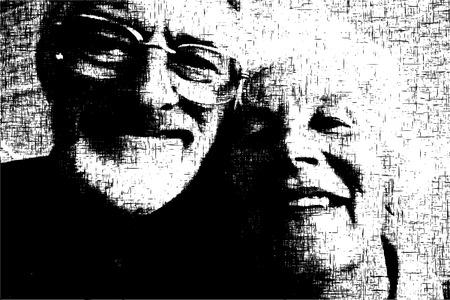 old happy couple: Editable vector grunge illustration of a happy old couple Illustration