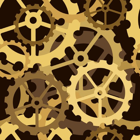 workings: Editable vector seamless tile of cog wheels Illustration
