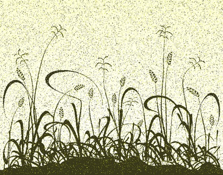 grass verge: Editable vector illustration of a grassy meadow and grunge Illustration