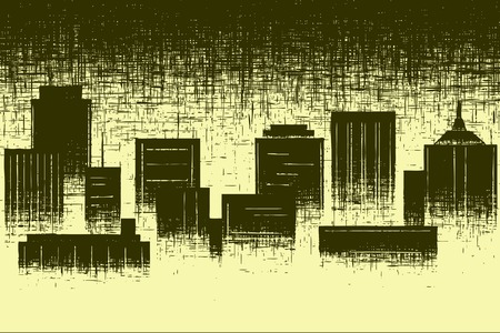 towerblock: Editable vector design of a city skyline and grunge Illustration