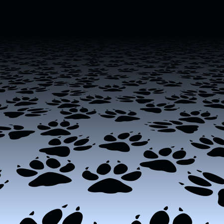 scamper: Editable vector design of dog paw prints on a floor