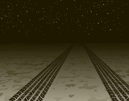 huellas de neumaticos: Editable ilustraci�n vectorial de las pistas de neum�ticos desapareciendo en la noche