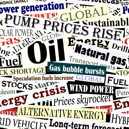 Editable vector seamless tile of energy headlines Illustration