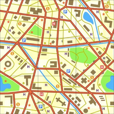Editable vector seamless tile of a generic city without names Illustration