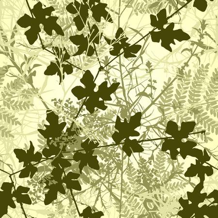 Editable vector seamless tile of tangled plants Vector