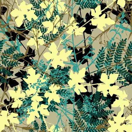 undergrowth: Editable vector seamless tile of tangled plants Illustration